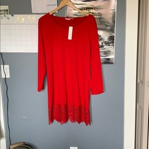 Red Long-sleeve Dress.